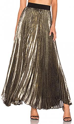 Плиссированная макси юбка katz Alice + Olivia. Цвет: металлический золотой