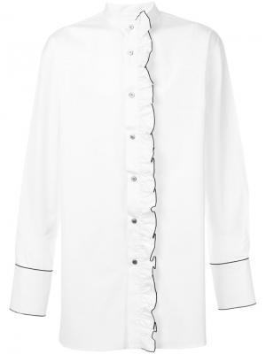 Рубашка с рюшами и воротником-мандарин Wooyoungmi. Цвет: белый
