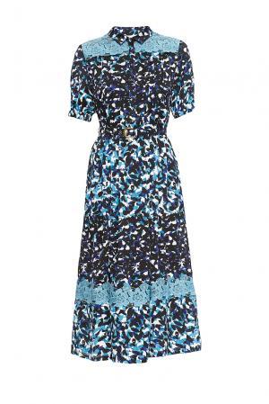 Платье из вискозы и шелка с ремнем 163216 Anna Verdi. Цвет: разноцветный