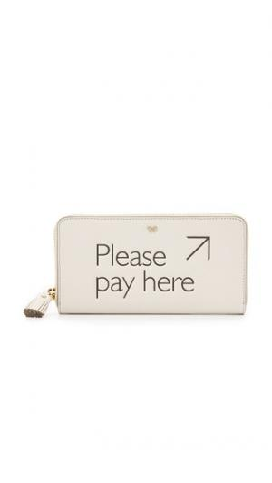 Большой кошелек с молнией по периметру Please Pay Here Anya Hindmarch