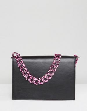 ASOS Однотонная сумка на плечо с массивной цепочкой. Цвет: черный