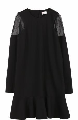 Мини-платье с оборкой и длинным рукавом REDVALENTINO. Цвет: черный