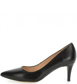 Остроносые кожаные туфли на шпильке UNISA. Цвет: черный