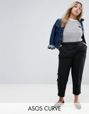 ASOS Curve Тканые брюки галифе без застежки. Цвет: черный