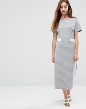 Shades of Grey Платье миди в полоску с отделкой виде пояса. Цвет: серый
