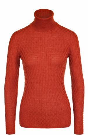 Шерстяная водолазка фактурной вязки M Missoni. Цвет: оранжевый