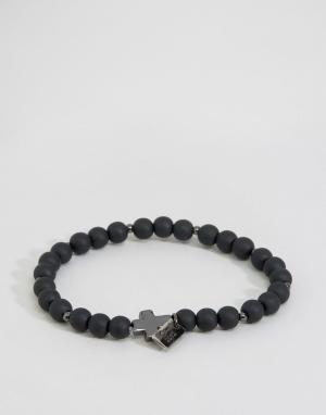 Icon Brand Черный матовый браслет с бусинами и крестом. Цвет: черный
