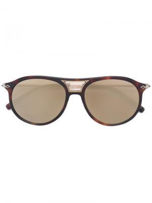 Солнцезащитные очки авиаторы с накладными панелями Matsuda. Цвет: коричневый