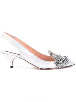 Туфли с бусинами Rochas. Цвет: металлический