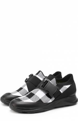 Комбинированные кроссовки с ремешком Christopher Kane. Цвет: черно-белый