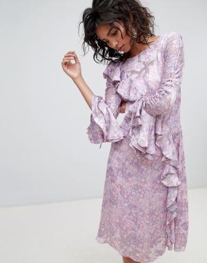 Ghost Платье миди с длинными рукавами и принтом. Цвет: фиолетовый