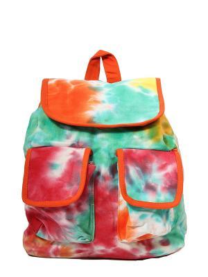 Рюкзак хлопок 2 карманас декор.отделкой ГАНГ. Цвет: бирюзовый, оранжевый
