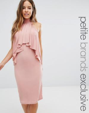 John Zack Petite Облегающее платье миди с высокой горловиной и оборкой спереди Zac. Цвет: розовый
