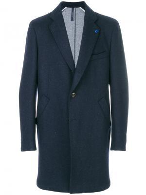Удлиненное однобортное пальто Tombolini. Цвет: синий