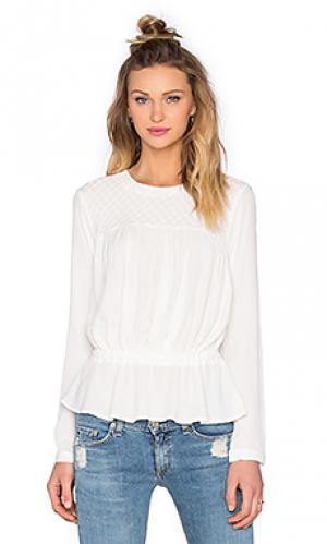 Блуза в мелкий рубчик с приспущенным поясом Bishop + Young. Цвет: белый