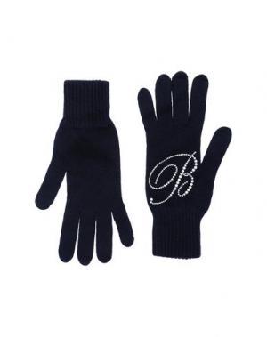 Перчатки BLUMARINE. Цвет: темно-синий