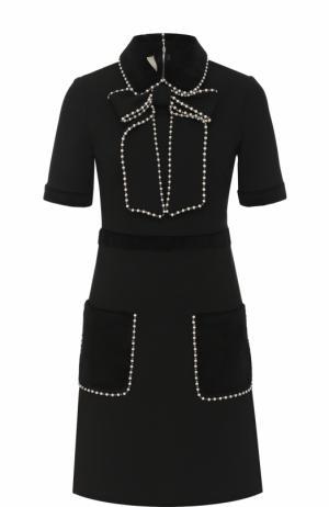 Приталенное мини-платье с коротким рукавом Gucci. Цвет: черный
