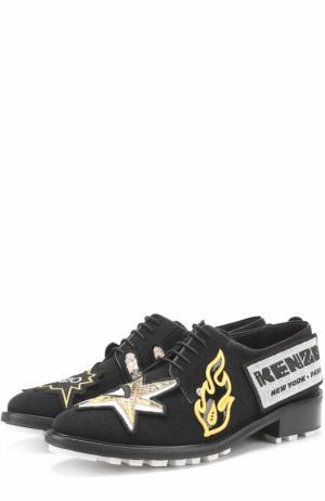 Текстильные ботинки с аппликациями Kenzo. Цвет: черный
