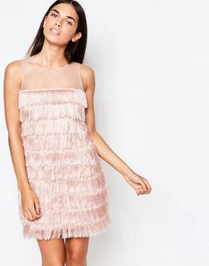 Rare Цельнокройное платье с бахромой. Цвет: розовый
