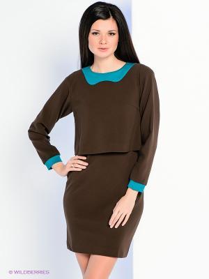 Платье Personage. Цвет: коричневый, бирюзовый