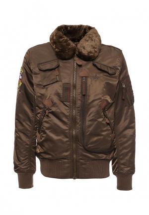 Куртка утепленная Alpha Industries. Цвет: коричневый
