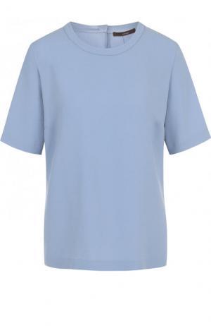 Однотонный топ с коротким рукавом и круглым вырезом Windsor. Цвет: голубой