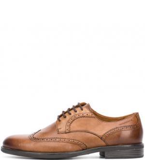 Коричневые туфли с брогированием Vagabond. Цвет: коричневый