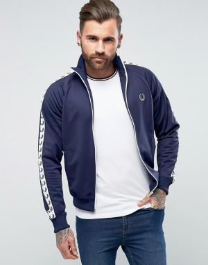 Fred Perry Темно-синяя узкая спортивная куртка с лентой Sports Authent. Цвет: темно-синий