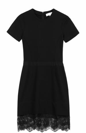 Облегающее мини-платье с кружевной отделкой Carven. Цвет: черный