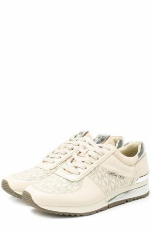Комбинированные кроссовки с логотипом бренда MICHAEL Kors. Цвет: белый