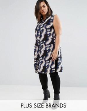 Koko Длинная рубашка с волнистым принтом Plus. Цвет: черный