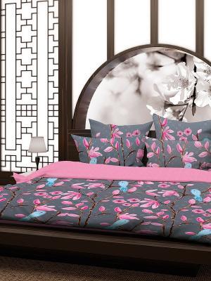Комплект постельного белья Павлин Волшебная ночь. Цвет: серый, голубой, розовый