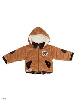 Велюровая курточка на синтепоне Happy Bear. Цвет: бежевый