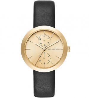 Часы с черным кожаным браслетом Michael Kors