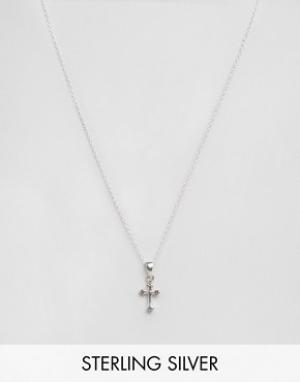 Kingsley Ryan Серебряное ожерелье с подвеской-крестом. Цвет: серебряный