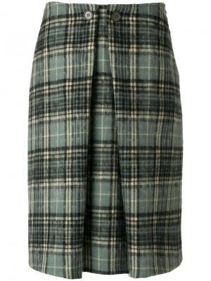 Плиссированная юбка в шотландскую клетку Aspesi. Цвет: синий