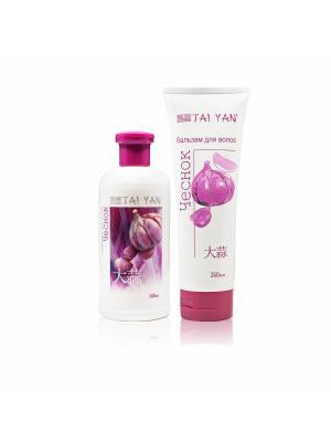 Набор шампунь + бальзам для волос Чеснок, регенерация и восстановление. TAI YAN. Цвет: белый