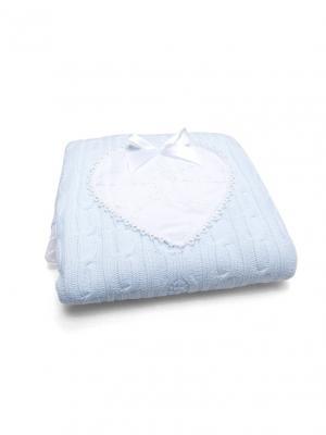 Одеяло-плед вязаное Сердечко Сонный гномик. Цвет: голубой