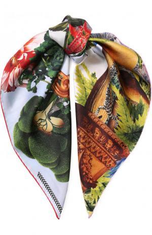 Шелковый платок с принтом Christian Lacroix. Цвет: светло-голубой