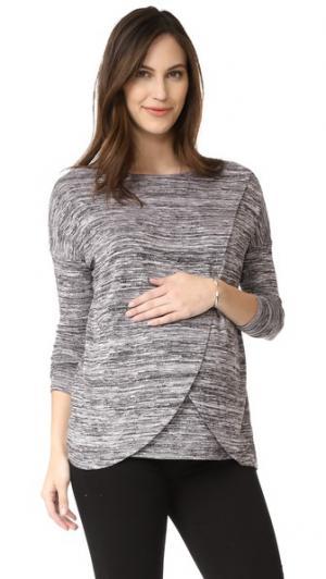 Пуловер с драпировкой и перекрещенными вставками Ingrid & Isabel. Цвет: черный/белый секционного крашения