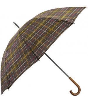 Зонт-трость с деревянной ручкой Barbour. Цвет: хаки