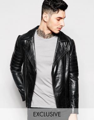 Black Dust Кожаная байкерская куртка. Цвет: черный