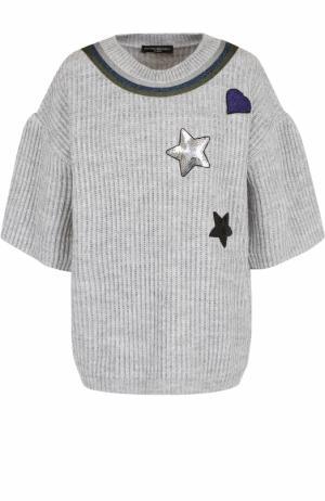 Пуловер фактурной вязки с укороченным рукавом Pietro Brunelli. Цвет: серый