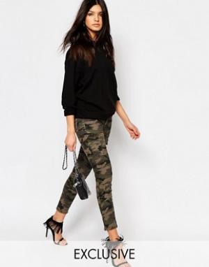 Northmore Denim Зауженные брюки карго с акцентными молниями на уровне щиколотки Northm. Цвет: зеленый