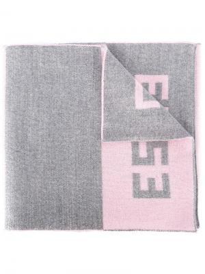 Шарф в полоску с логотипом Lc23. Цвет: розовый и фиолетовый