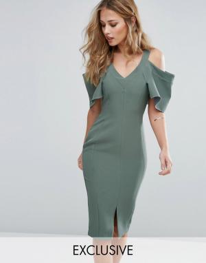 Vesper Платье-футляр с вырезами на плечах и рукавами рюшами. Цвет: зеленый