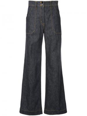 Flared denim trousers Cyclas. Цвет: синий