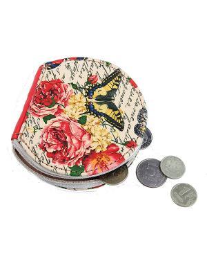 Кошелек для монет Кажан. Цвет: светло-желтый, белый, красный