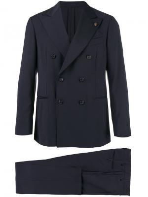 Костюм с двубортным пиджаком Gabriele Pasini. Цвет: синий