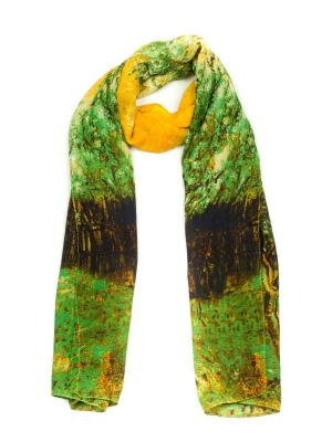 Палантин AnnA Wolf. Цвет: зеленый, коричневый, желтый